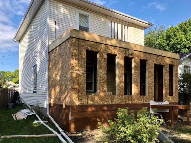 Construction of an addition on a house by Ingram Renovations Ft. Saskatchewan